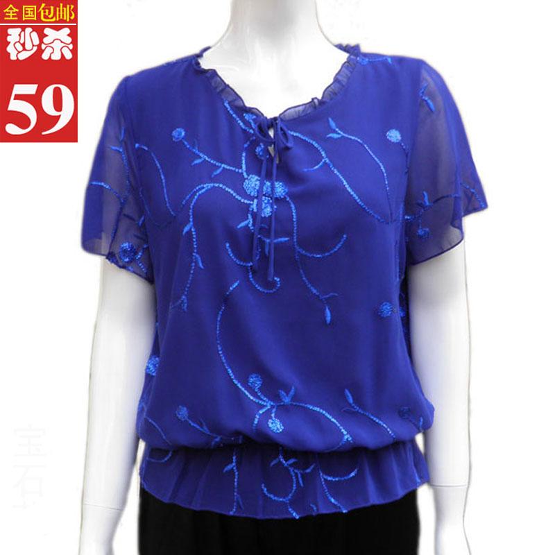 新款中老年女装夏装短袖雪纺衫韩版大码T恤妈妈装衬衫宽松上衣