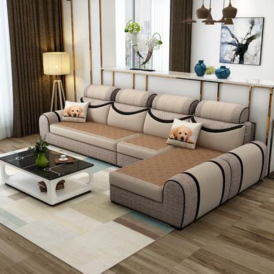 客厅组合布艺沙发 冬夏两用沙发 现代简约可拆洗凉席贵妃沙发整装