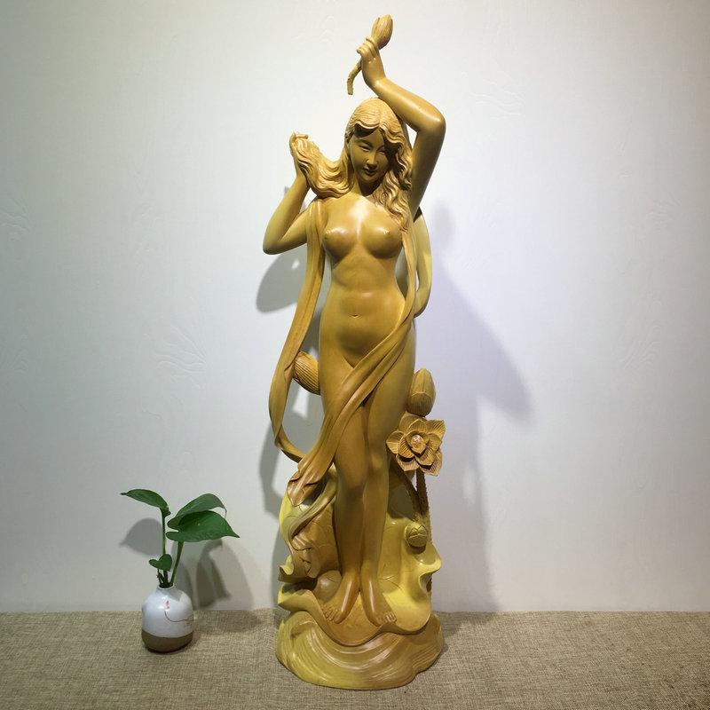 大汉九鼎 新四大美女之 夏雨荷姑娘 桧木雕刻 手工雕刻实木美女