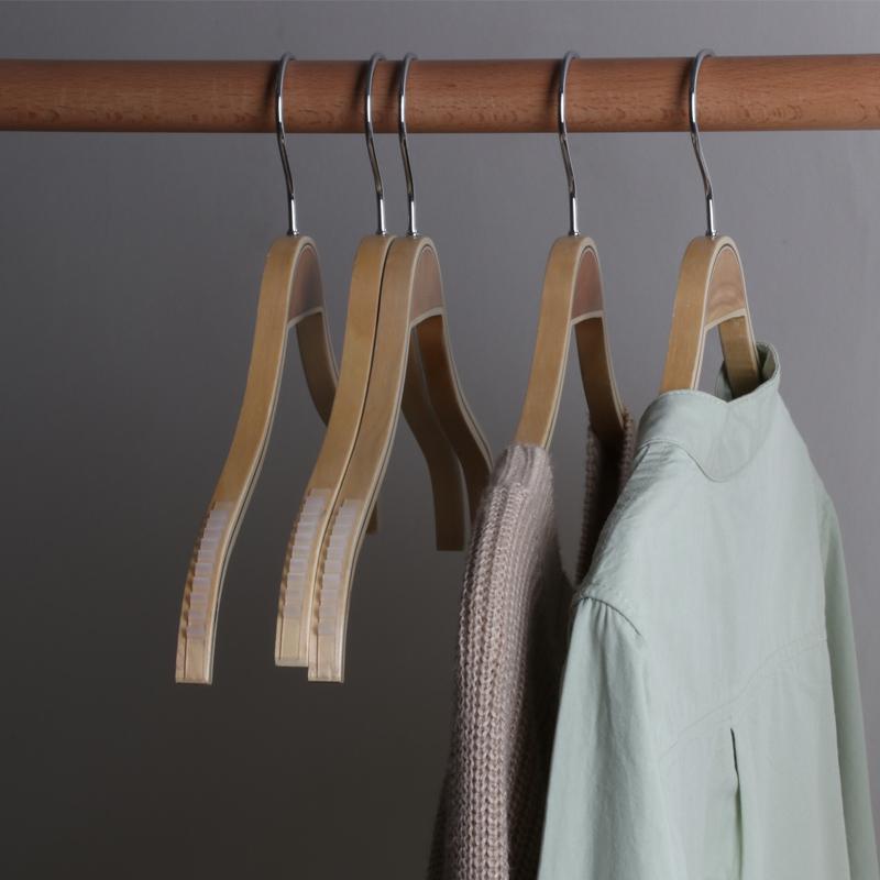 满3元可用2元优惠券实木女士衬衫防滑夹板现代竹木衣架