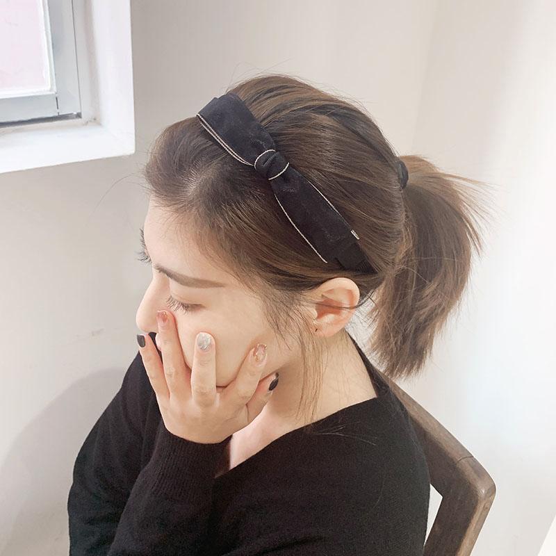 防滑压发卡蝴蝶结发箍简约百搭发夹黑色蕾丝头箍宽边韩国头饰品女