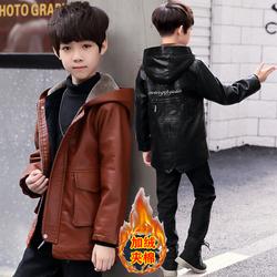 儿童装男童冬装2020新款洋气皮衣冬款韩版中大童风衣加绒加厚外套