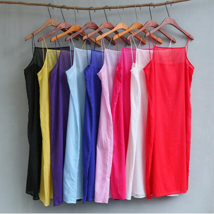 黑白新款吊带红色阳光房丝棉打底衬裙防走光 多色百搭长款背心裙