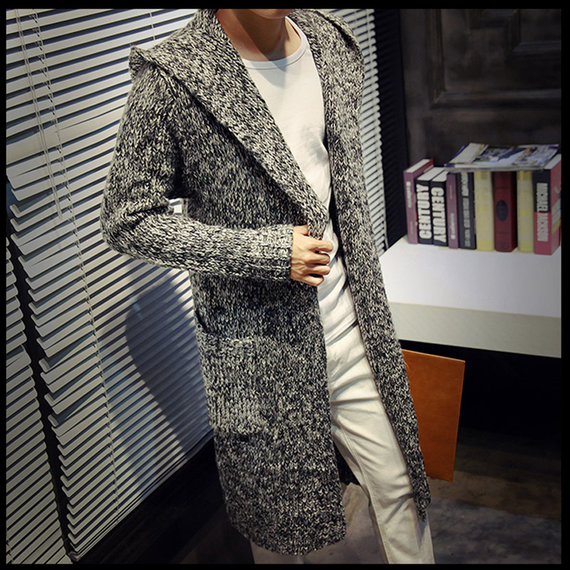 Autumn and winter new mens medium and long Cape loose windbreaker Korean version knitted cardigan student youth coat