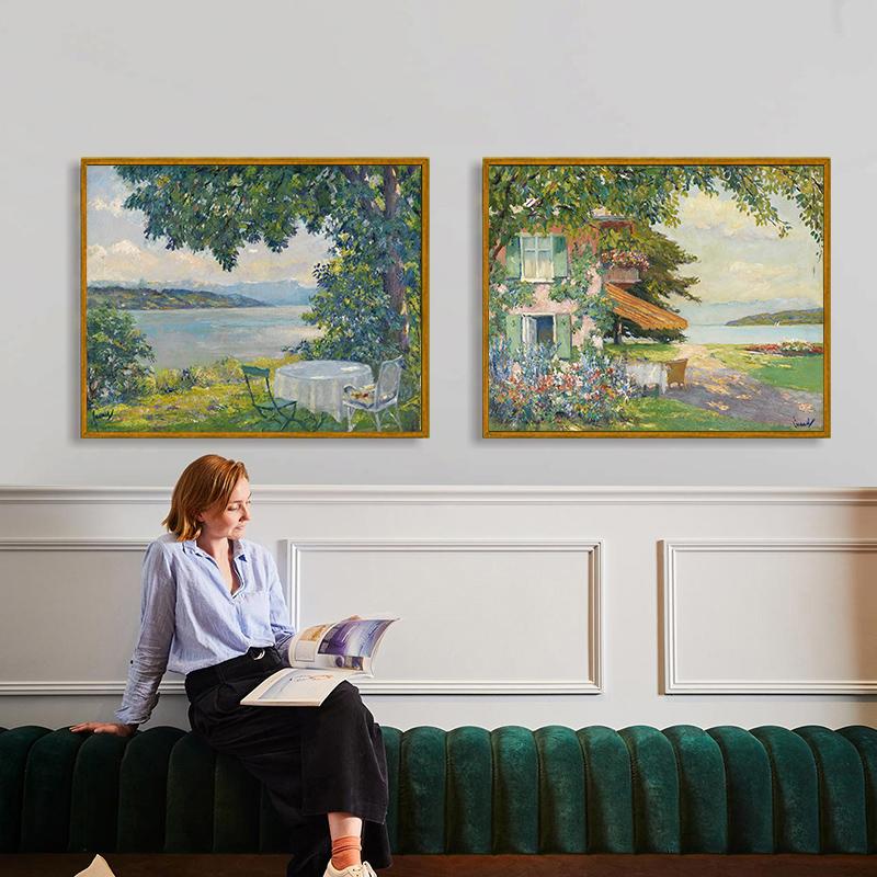 乙霏手繪作品陽光湖畔風景建筑油畫床頭掛畫美式沙發背景墻裝飾畫