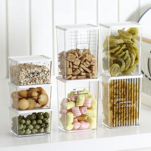 冰箱保鲜收纳盒厨房果蔬冷藏密封盒ps塑料带盖零食储物罐厨房用品
