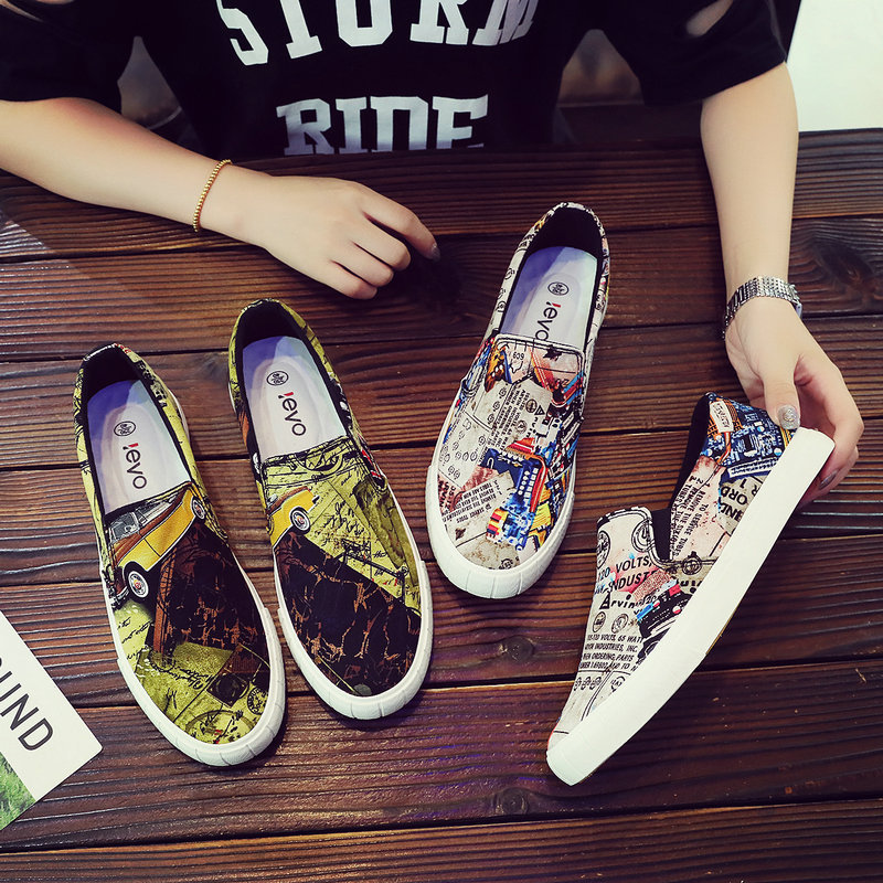 Lazy printing shoes canvas shoes mens low top fashion brand casual shoes mens Korean versatile net red graffiti board shoes
