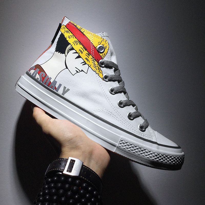 Canvas shoes womens new versatile high top animation board shoes in summer 2019