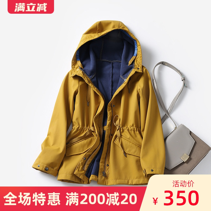 Plush and thickened windbreaker womens middle long small waterproof outdoor leisure charging jacket in autumn and winter of 2019