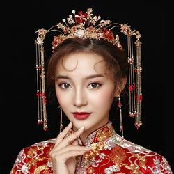 秀禾服新娘头饰中式大气红色古装结婚秀禾凤冠发饰步摇古风饰品女