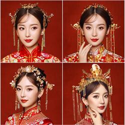 中式新娘头饰秀禾流苏步摇中式大气秀和发饰结婚红色秀禾服凤冠女