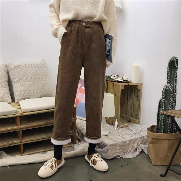实拍实价 已检测 冬季羊羔毛内里保暖灯芯绒松紧腰休闲裤