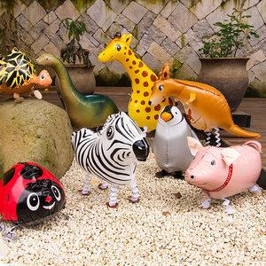 活动布置宝宝周岁生日派对场景装饰走路汽球儿童动物卡通铝膜气球