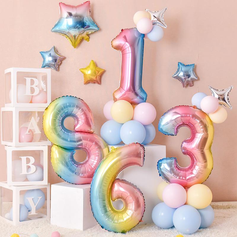 周岁宝宝主题马卡龙气球装饰儿童生日派对数字立柱背景墙场景布置10月12日最新优惠