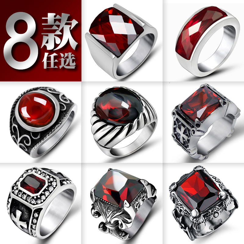 Garnet Ruby titanium steel ring punk widened mens inlaid finger ring fashion creative jewelry