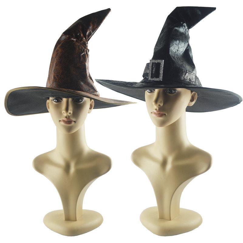 万圣节复古皮革哈利波特帽子舞会派对帽子巫婆帽子巫师帽黑尖帽子