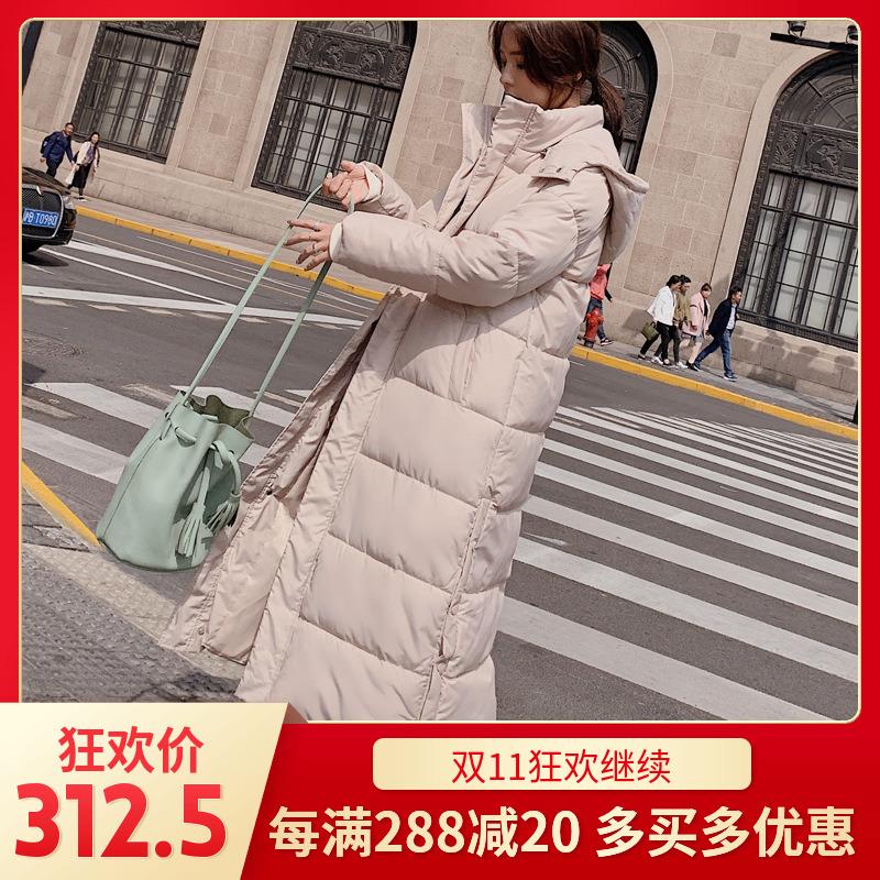冬季韩国甜美气质简约宽松超长款羽绒棉宽松加厚棉衣女面包服外套
