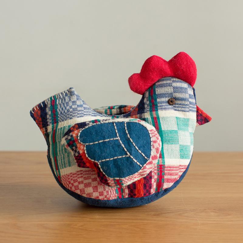 王的手创 鸡玩偶抱枕棉麻公仔生日结婚礼物玩具手工布偶可爱女生
