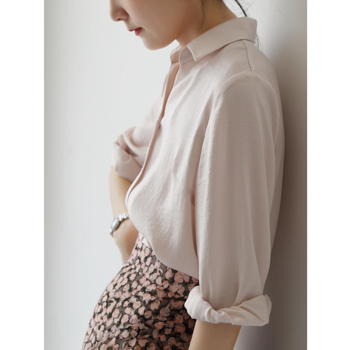 12月02日最新优惠SS STUDIO衬衫女设计感小众淡粉七分袖V领ol轻熟衬衣防晒薄款chic