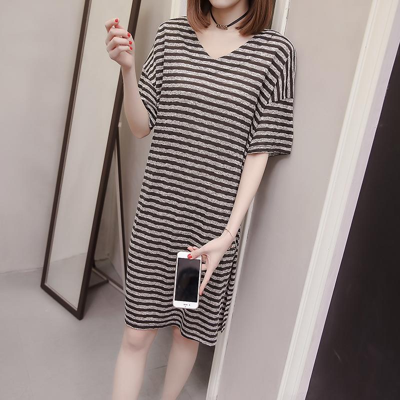 睡裙女夏季韩版短袖睡衣条纹ins可爱宽松大码可外穿薄款家居服女不包邮