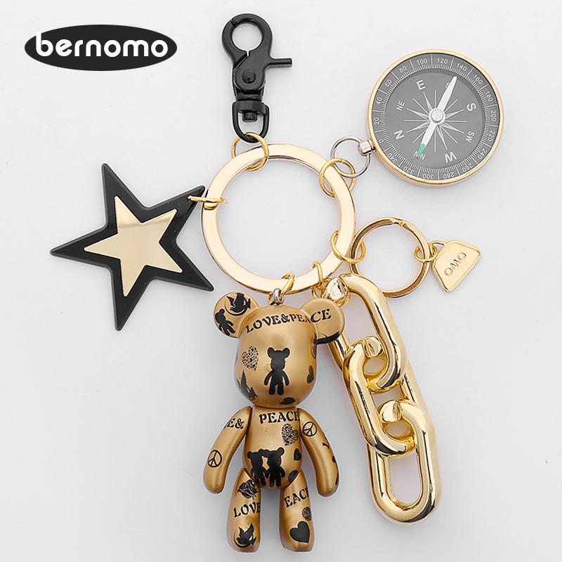 bernomo陌陌熊暴力熊汽车钥匙扣男女包包挂件创意卡通钥匙链韩国