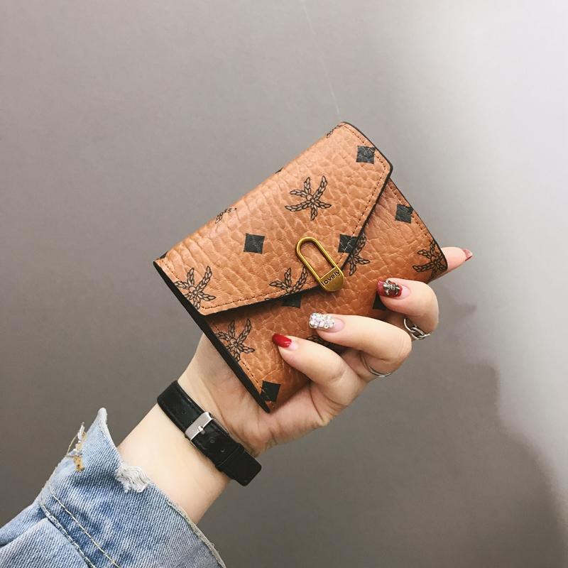 欧美时尚迷你钱包女短款搭扣多功能简约折叠复古女士软皮夹零钱包