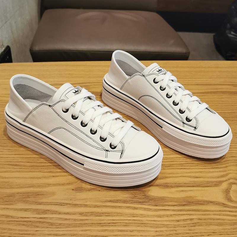 厚底鞋女松糕底真皮两穿小白鞋2020新款黑色女鞋透气软底平底板鞋