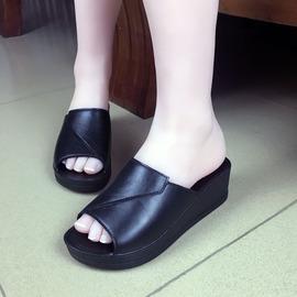 拖鞋女高跟增高夏季防水台女士凉拖鞋软塑胶坡跟凉鞋松糕鞋韩版