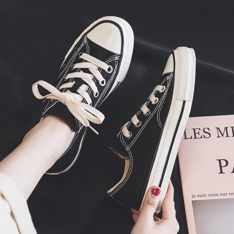 人本帆布鞋女2020新款潮鞋百搭复古港味ins板鞋学生韩版1970s布鞋