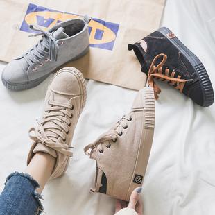 人本棉鞋女2019新款冬季加绒学生帆布鞋百搭保暖高帮鞋韩版女鞋子