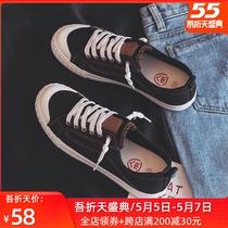 人本帆布鞋女2020春季新款潮鞋百搭韩版小白鞋子学生港风情侣板鞋