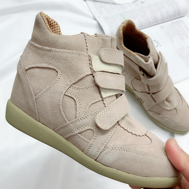 Womens shoes with broken size 38 plus size genuine leather increased Velcro high top casual shoes single shoe inner mesh yarn womens shoes