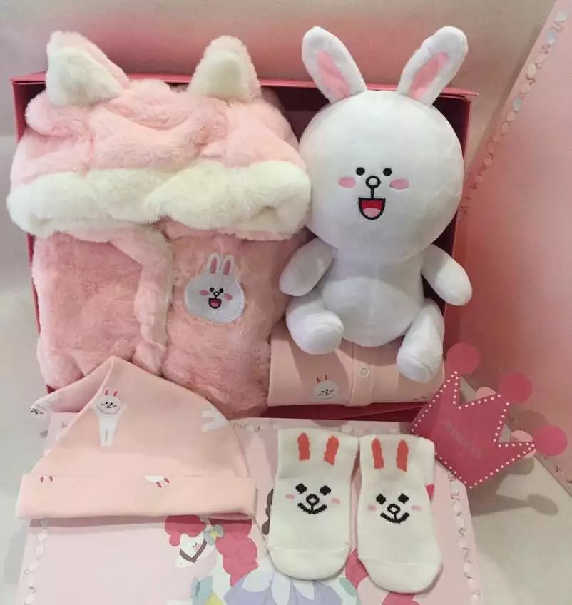 Line friends winter koni rabbit gift box set coat creeper doll socks Plush full moon gift