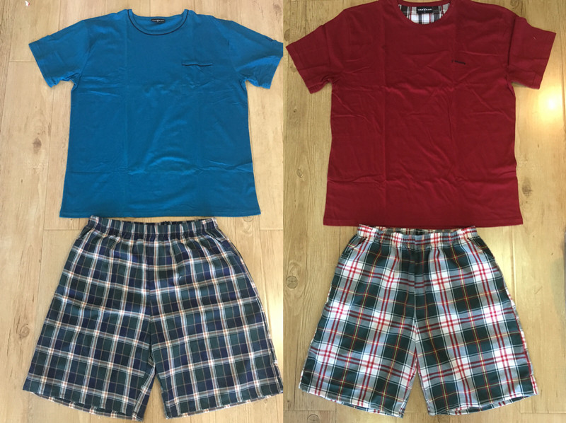 Foreign trade oversized Plaid pajamas summer mens pure cotton short sleeve shorts casual home clothes pajamas suit
