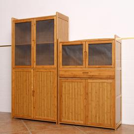 透气纱窗碗柜多层简易橱柜经济型家用组装厨房实木竹放菜柜餐边柜