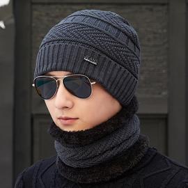 帽子冬季保暖针织帽围脖男护耳棉帽学生韩版休闲潮脖套毛线帽青年