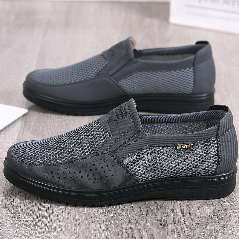老北京布鞋男网鞋透气休闲鞋爸爸鞋软底老人鞋套脚男鞋凉鞋大码鞋