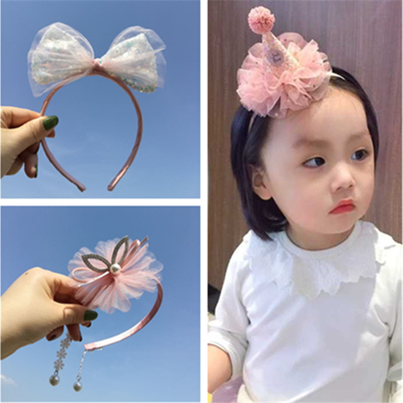 Princess lovely lace hair band bright diamond edge clip baby birthday hat headband party crown girl hairpin