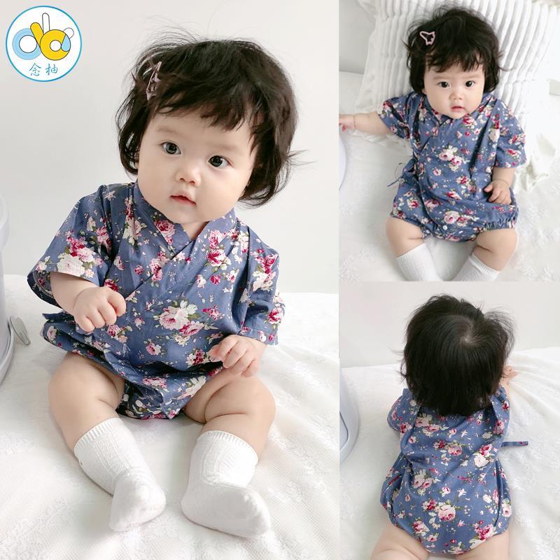 婴儿和服夏薄款日式童装网红男女宝宝三角包屁衣可爱和尚服连体衣满99.00元可用50元优惠券
