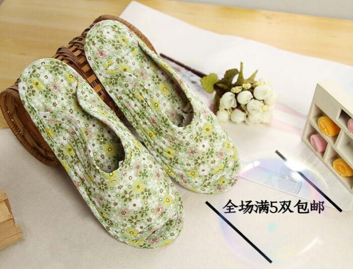 Cotton womens Korean quilted fabric fence slippers floor slippers household shoes indoor slippers Korean slippers