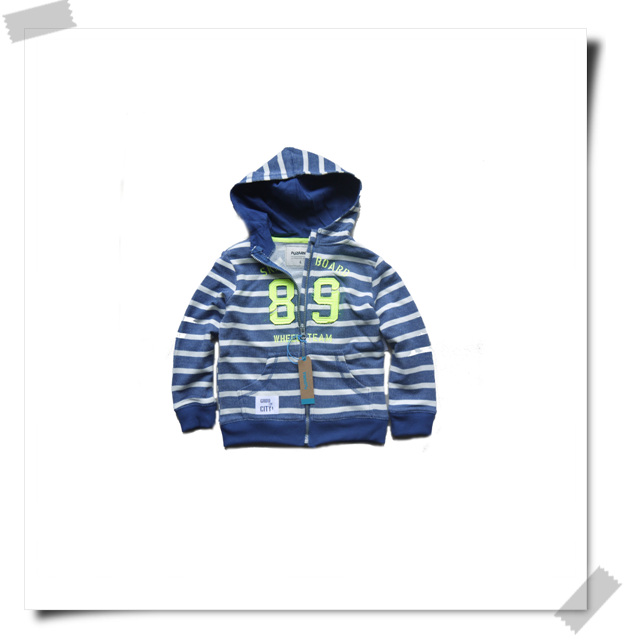 Spring European single boys and girls middle school childrens youth striped hat sports zipper sweater parents and children