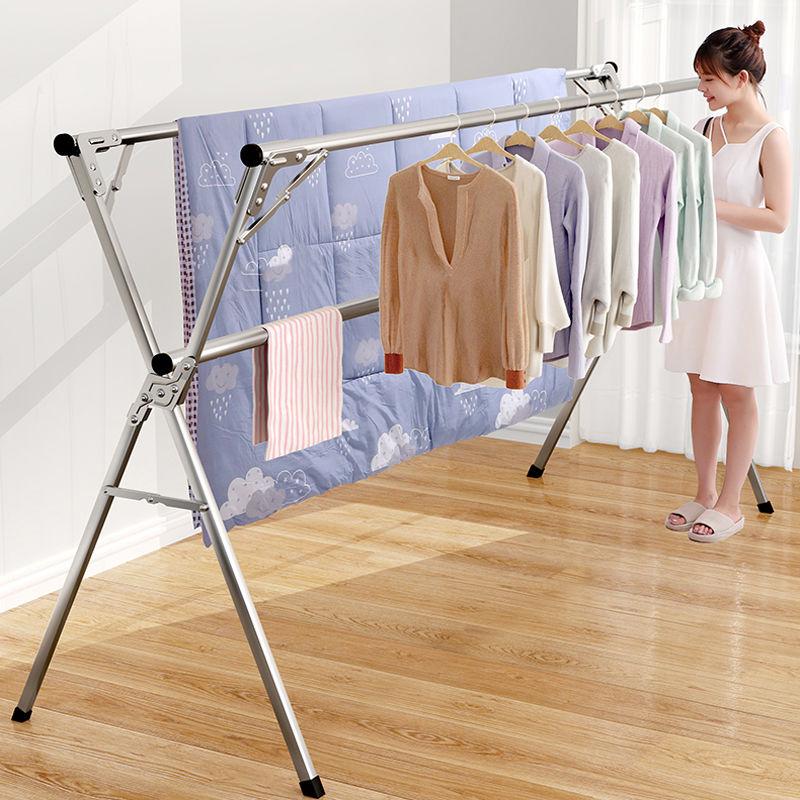 折叠晾衣架不锈钢落地室内阳台家用双杆凉衣架伸缩室外晒被子神器