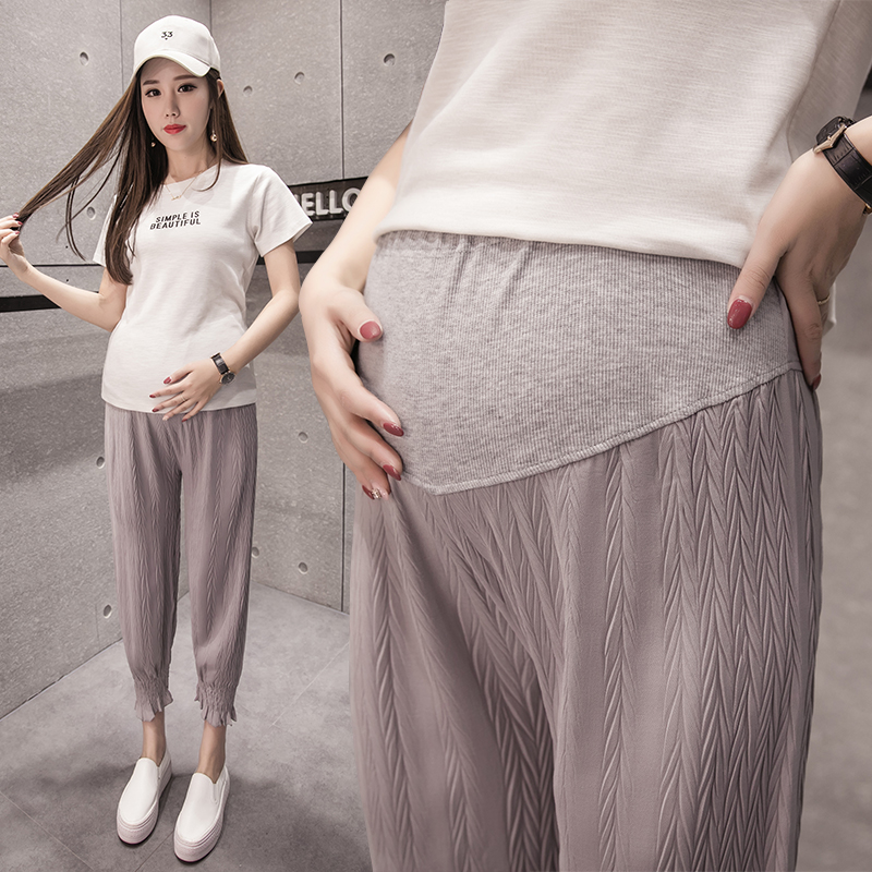 Pregnant womens Leggings spring clothes thin Capris CHIFFON BELLY pants