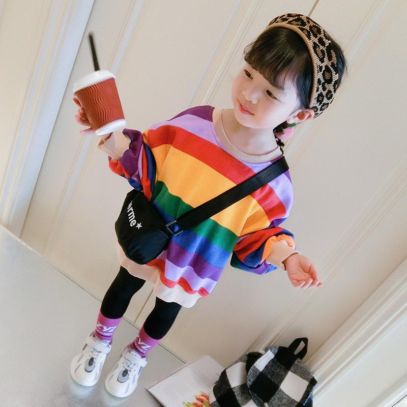 女童2019春装新款女宝宝时尚洋气春秋卫衣儿童中长款上衣1-3岁潮