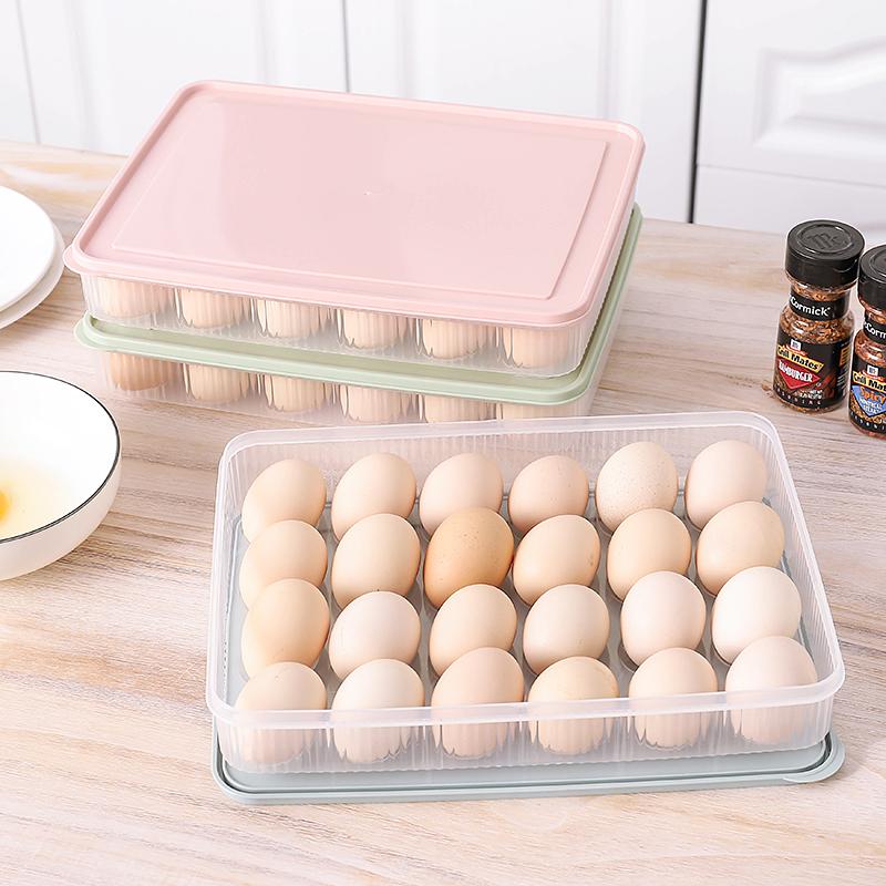 家用厨房鸡蛋盒塑料透明冰箱收纳盒饺子盒蛋托食物保鲜盒带盖蛋格