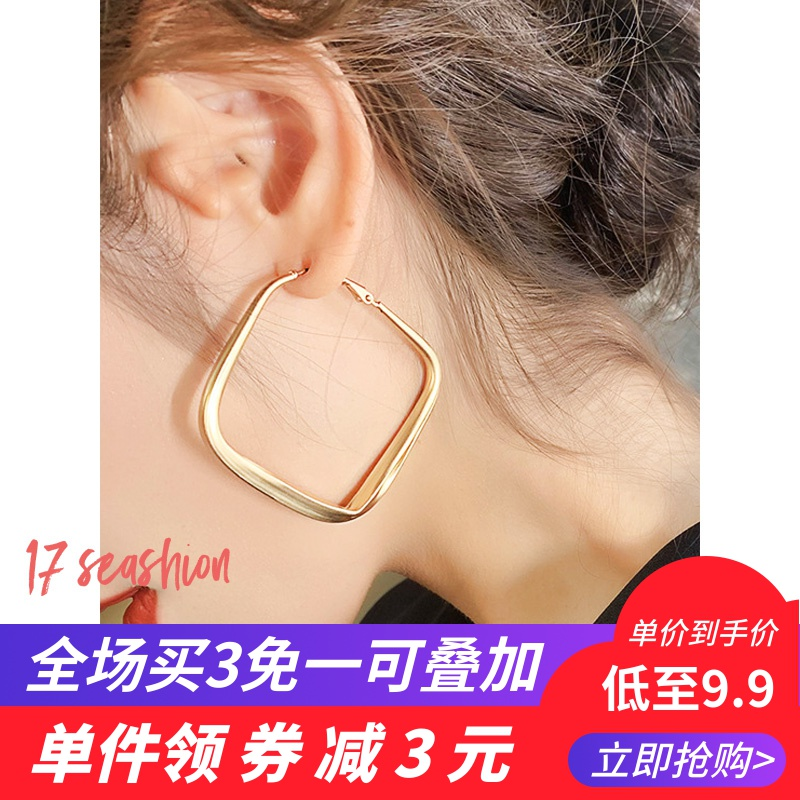 Big circle exaggerated personality Earrings female 925 silver needle retro Hong Kong wind net red temperament European and American Earrings round face shows thin trend