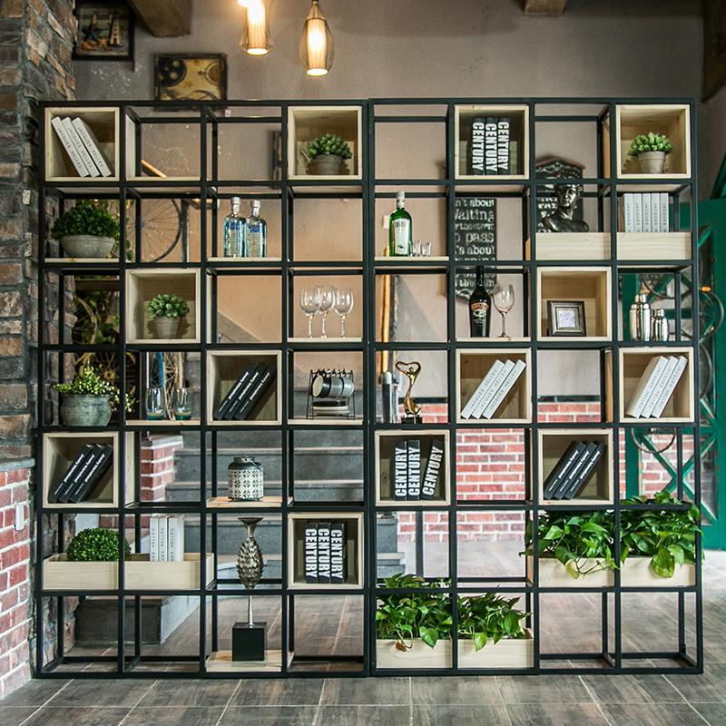 铁艺屏风隔断装饰置物架书玄关客厅办公室实木柜板墙展示格子架G