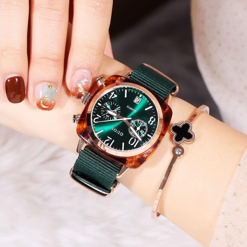 2020香港古欧新款女士手表大表盘帆布时尚女生表防水日历女款手表