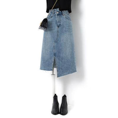 不对称港味复古夏秋中长款开叉包裙女包臀牛仔裙不规则半身裙小众