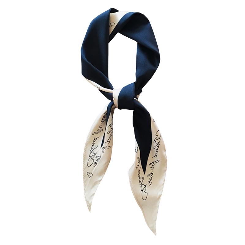 简约拼色菱形小丝巾领巾韩版春季气质新款字母护颈围巾头巾绑包包